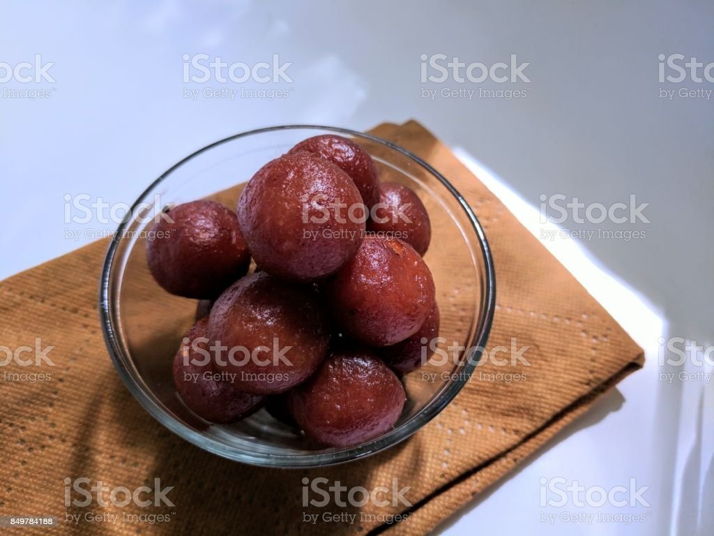 gulab jamun stock photo