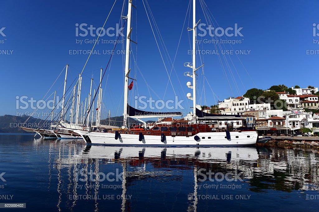 gulet type yachts docked in Marmaris stock photo