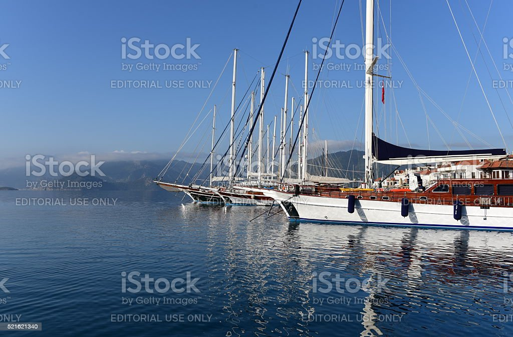 Gulet type yachts in Marmaris stock photo