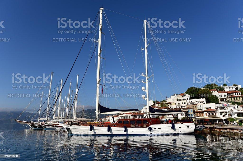 Gulet type yachts moored in Marmaris stock photo