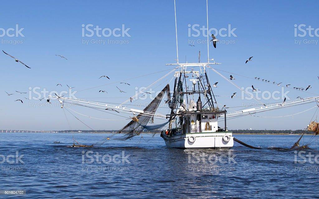 Gulf Coast Shrimping Boat in Biloxi stock photo