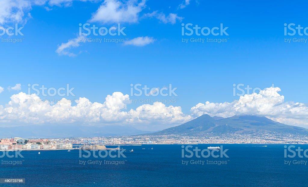 Gulf of Naples. Landscape with Mount Vesuvius stock photo