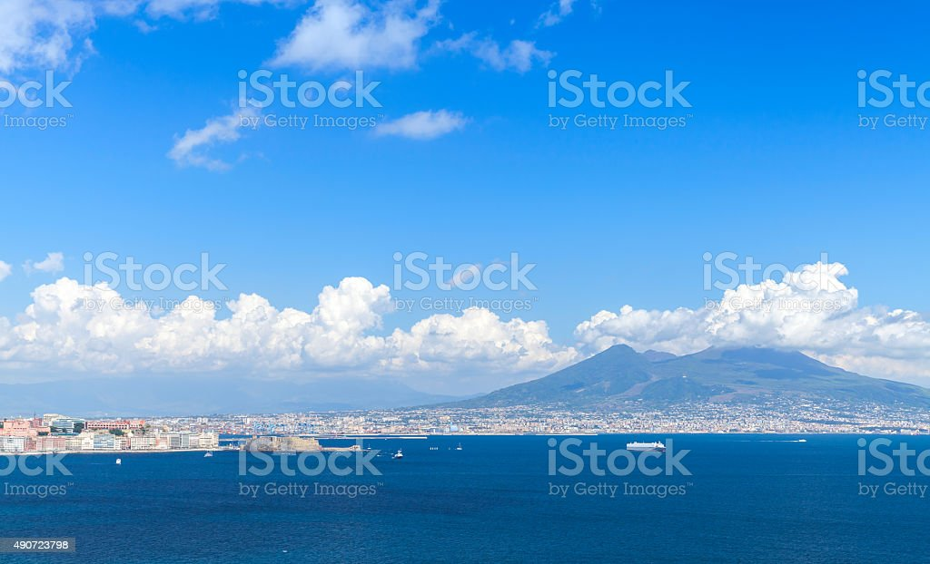 Gulf of Naples. Landscape with Mount Vesuvius stock photo