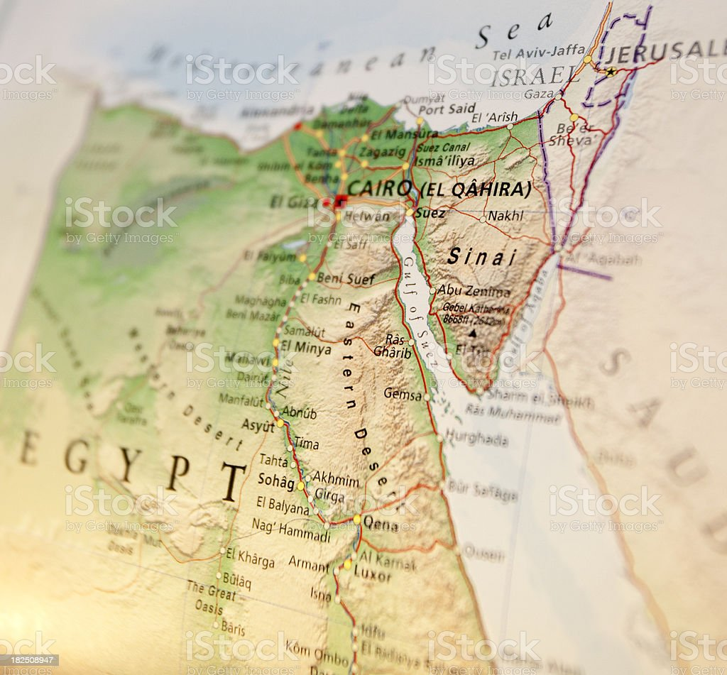 Gulf of Suez area map on globe stock photo