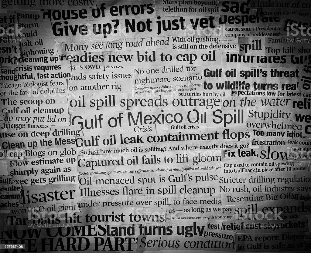 gulf oil spill headlines II stock photo