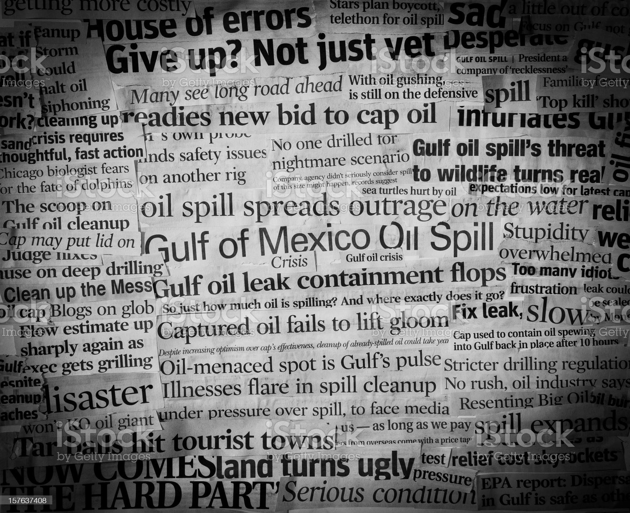 gulf oil spill headlines II royalty-free stock photo