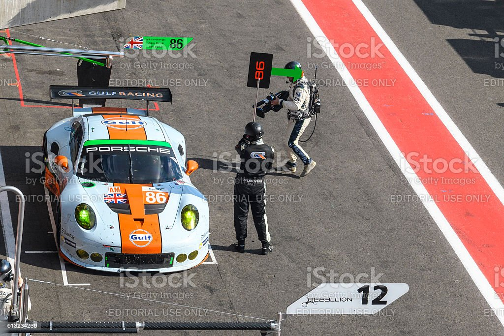 Gulf Racing Porsche 911 pit stop stock photo