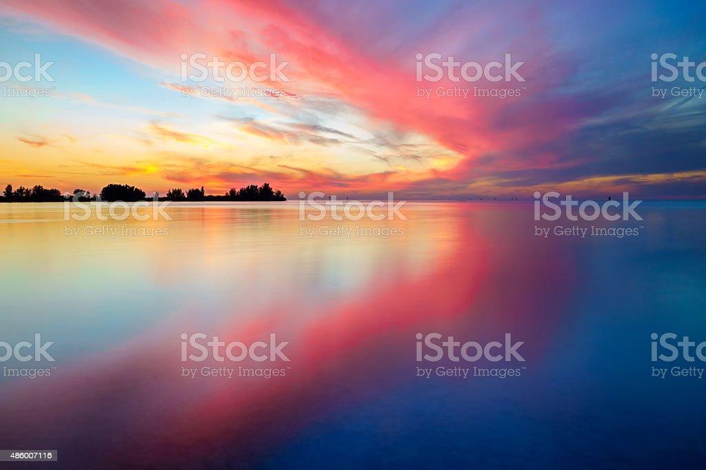 Gulf Sunset with Dramatic Sky stock photo