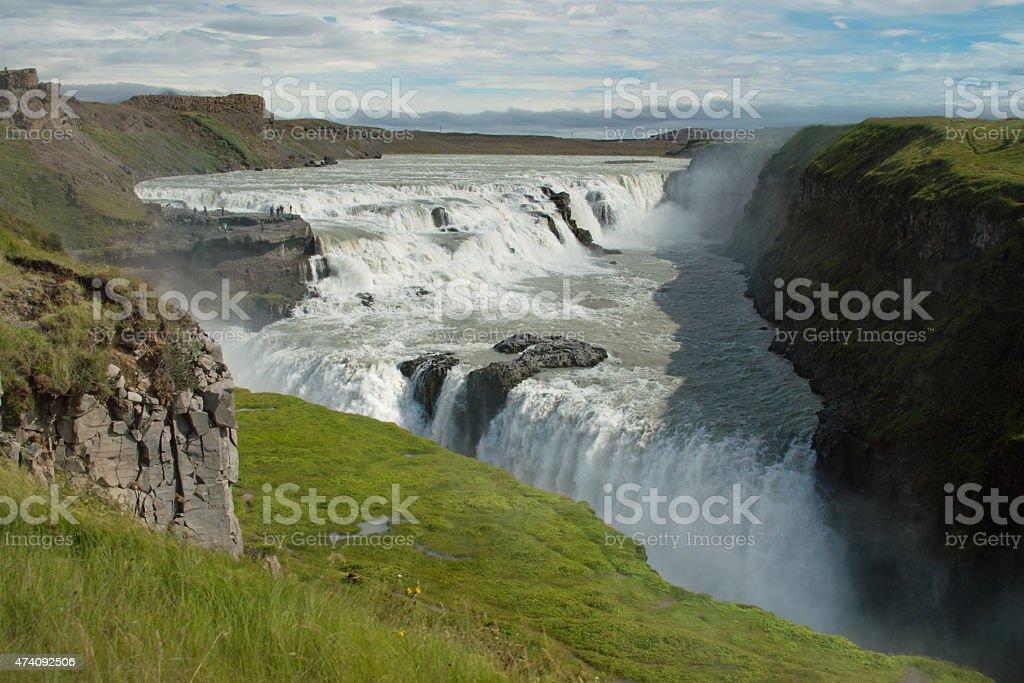 Gulfoss double waterfall in Iceland stock photo