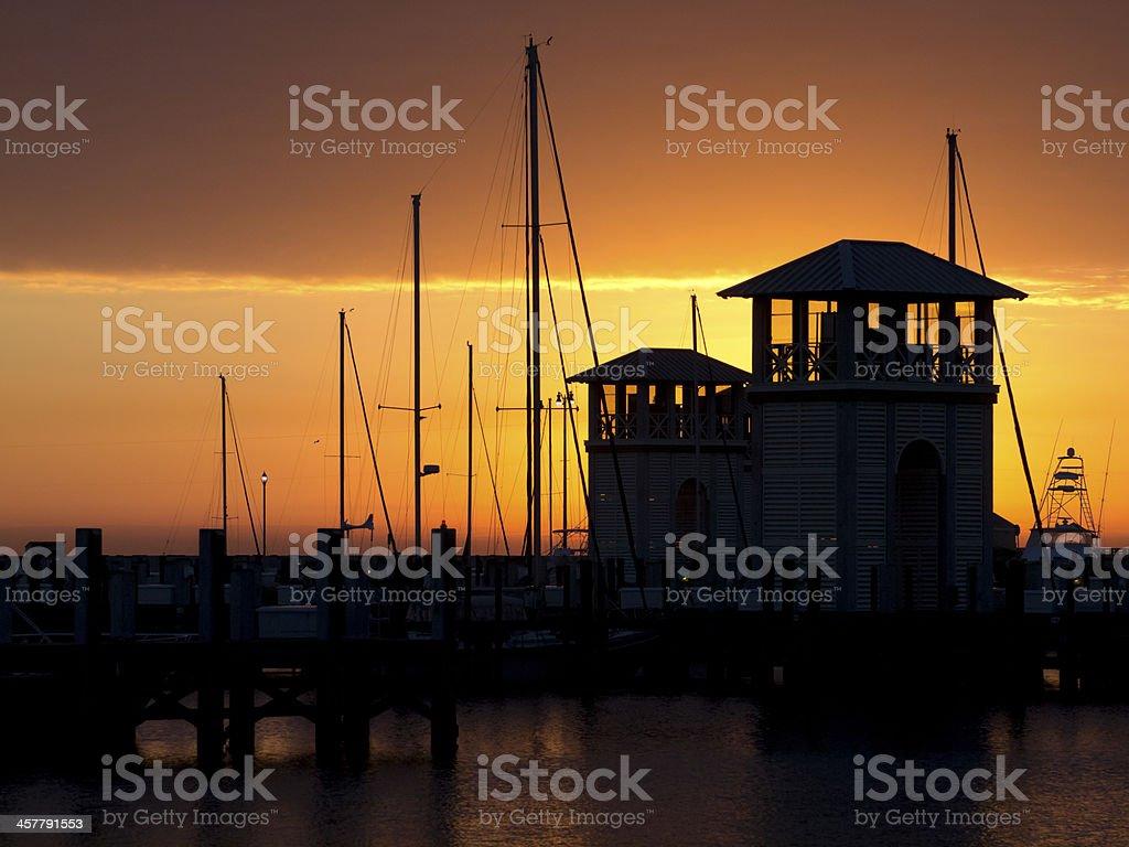 Gulfport Marina Landscape at Sunrise stock photo