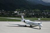 Gulfstream business jet on tarmac at Innsbruck