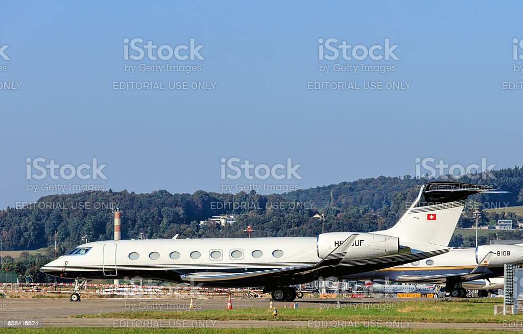 gulfstream g650 jet in the zurich airport royalty free stock photo