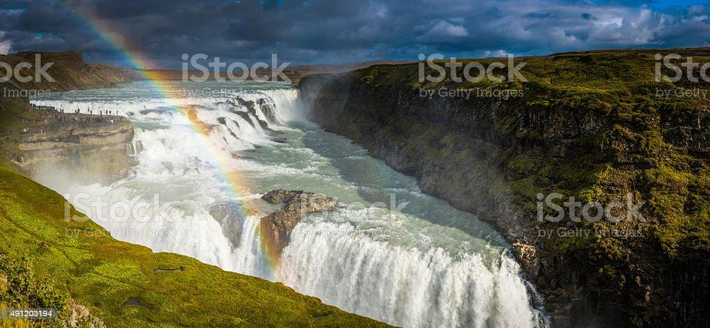 Gullfoss waterfall rainbows in mist Golden Circle landmark panorama Iceland stock photo
