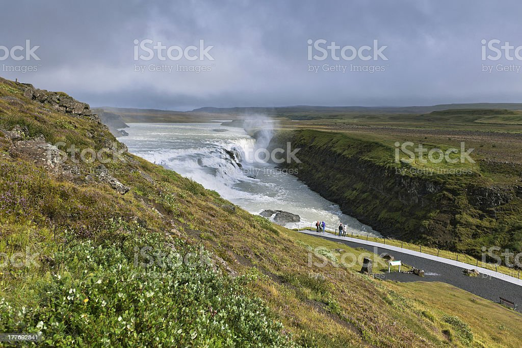 Gullfoss Waterfall, southern part of Iceland, at overcast weathe royalty-free stock photo