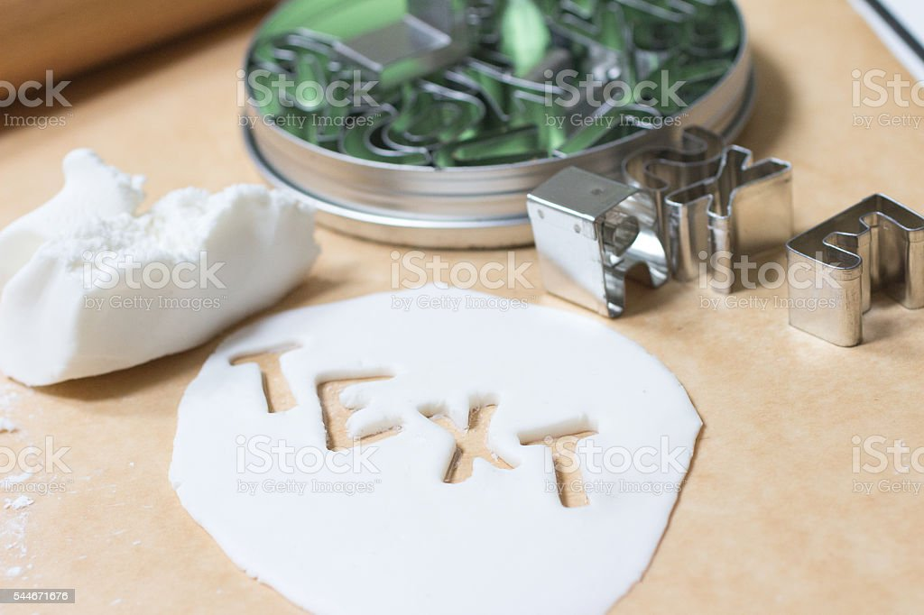 Gum paste and Text stock photo