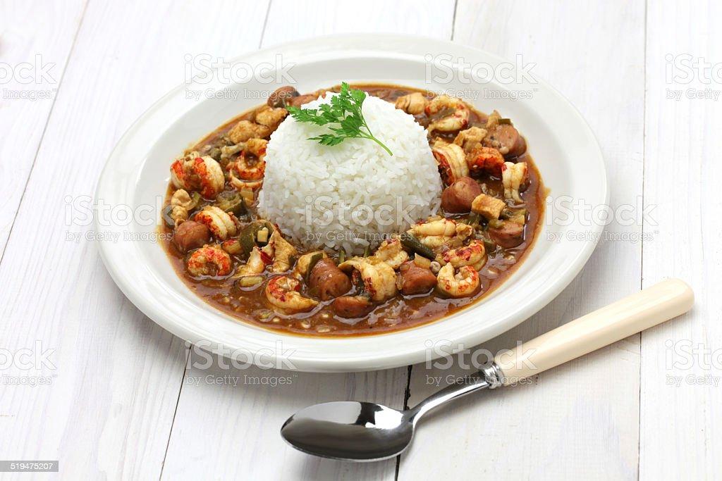 gumbo with crawfish, chicken & sausage stock photo