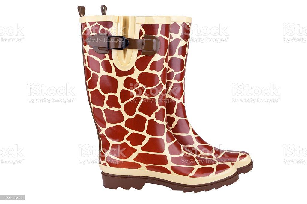 Gumboots with giraffe pattern stock photo