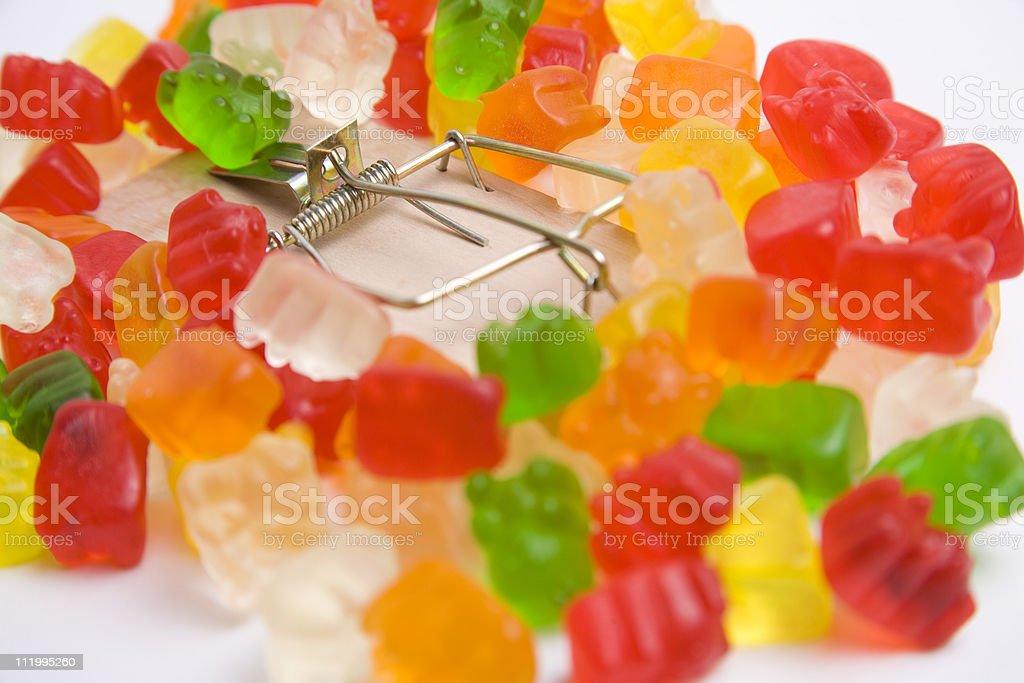 Gummi bear treat trap royalty-free stock photo