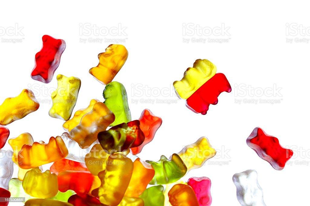 Gummibears on white background stock photo