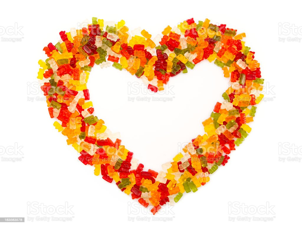 Gummy bear heart on white background royalty-free stock photo
