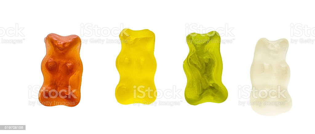 gummy bear jelly isolated on white with clipping path stock photo