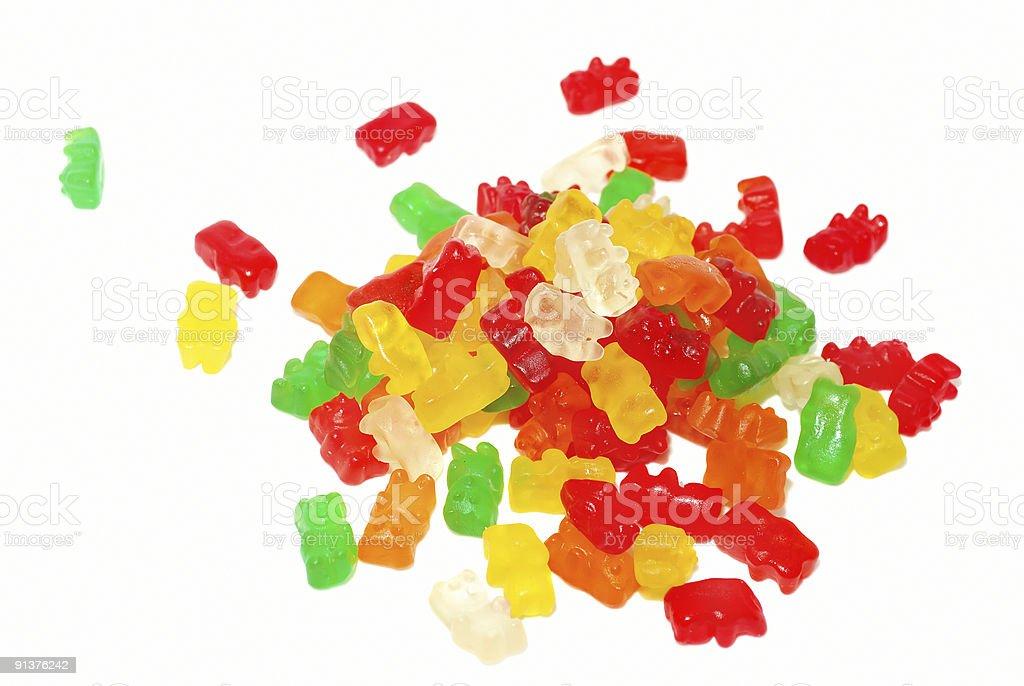 Gummy Bear Pile on White stock photo