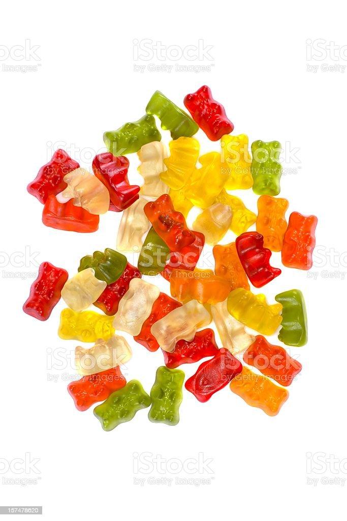 Gummy bears heap on white background stock photo