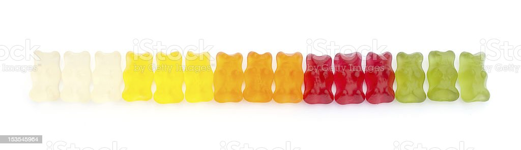 Gummy bears in a line royalty-free stock photo