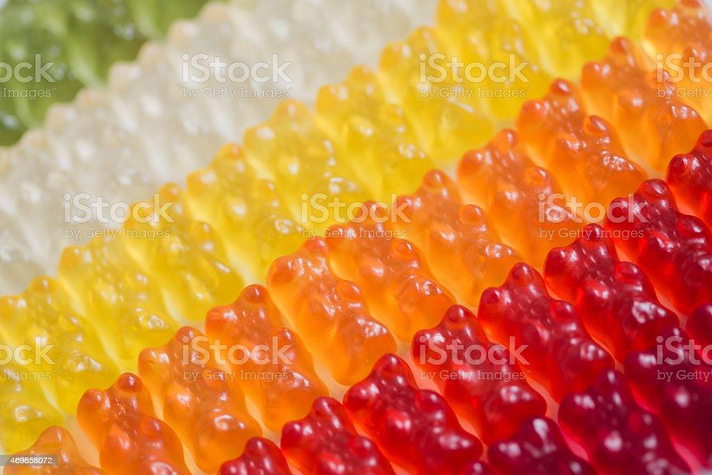 Gummy bears rainbow pattern stock photo