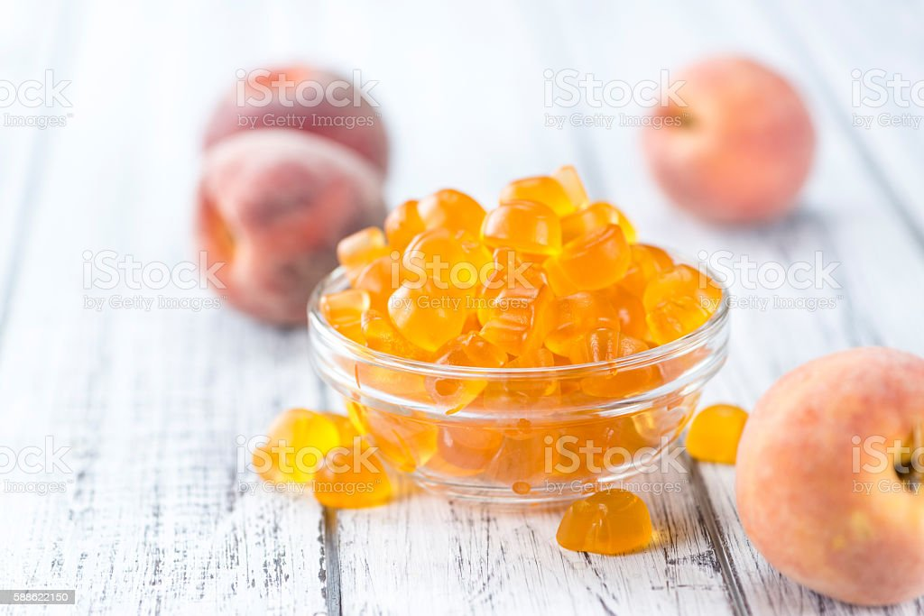 Gummy Peaches stock photo