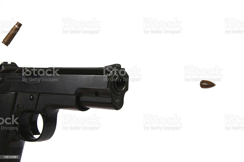 gun and bullet stock photo