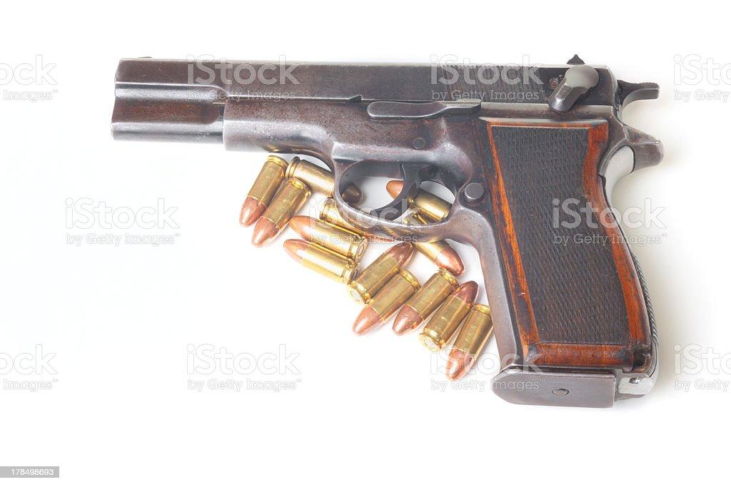Gun and bullets stock photo