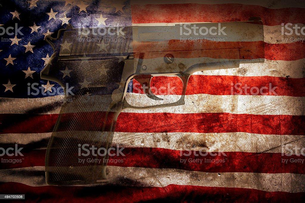 Gun and flag stock photo