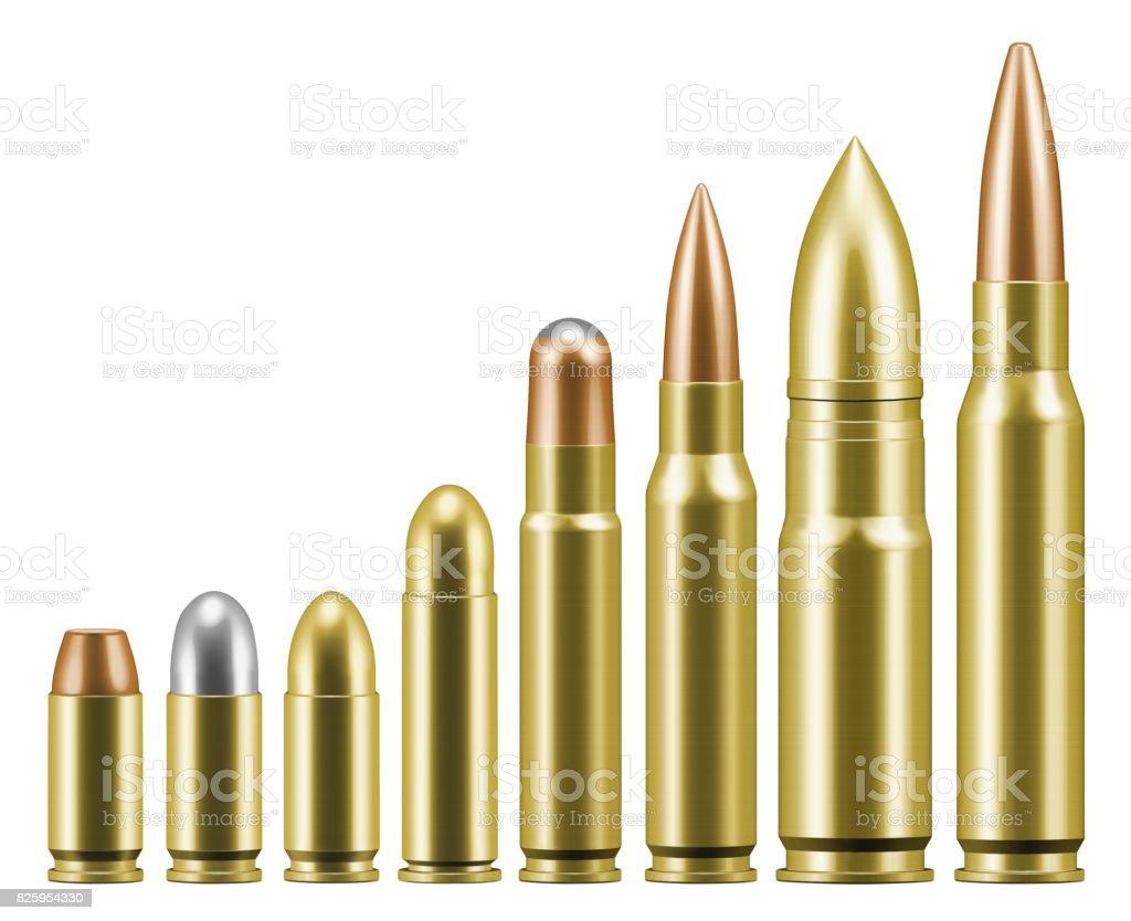 Gun and rifle ammunition types stock photo