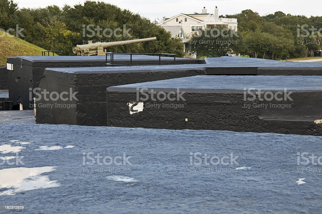 Gun battery and bunkers at fort in South Carolina stock photo