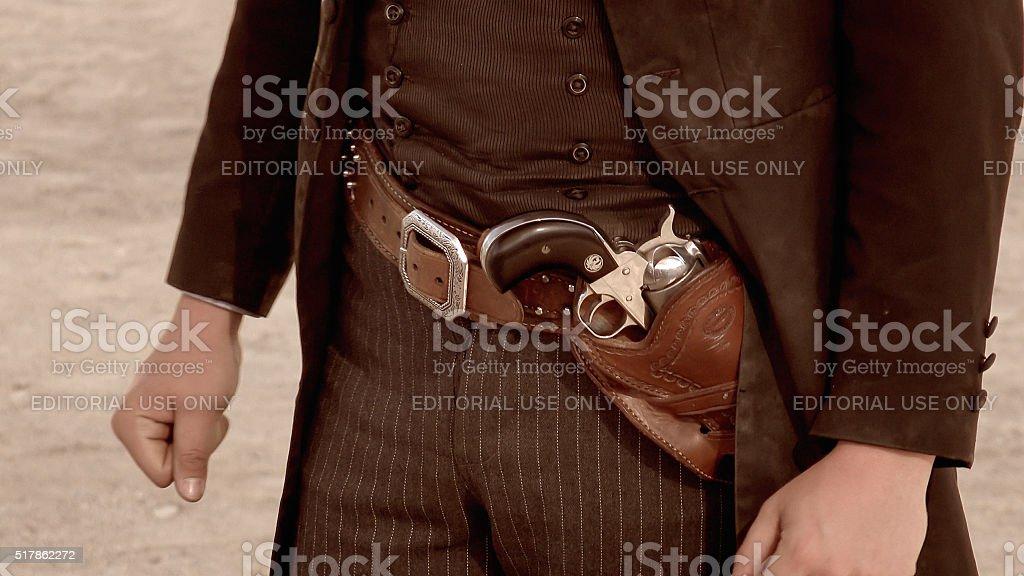 Gun Belt of Gunfighter in Tombstone, Arizona stock photo