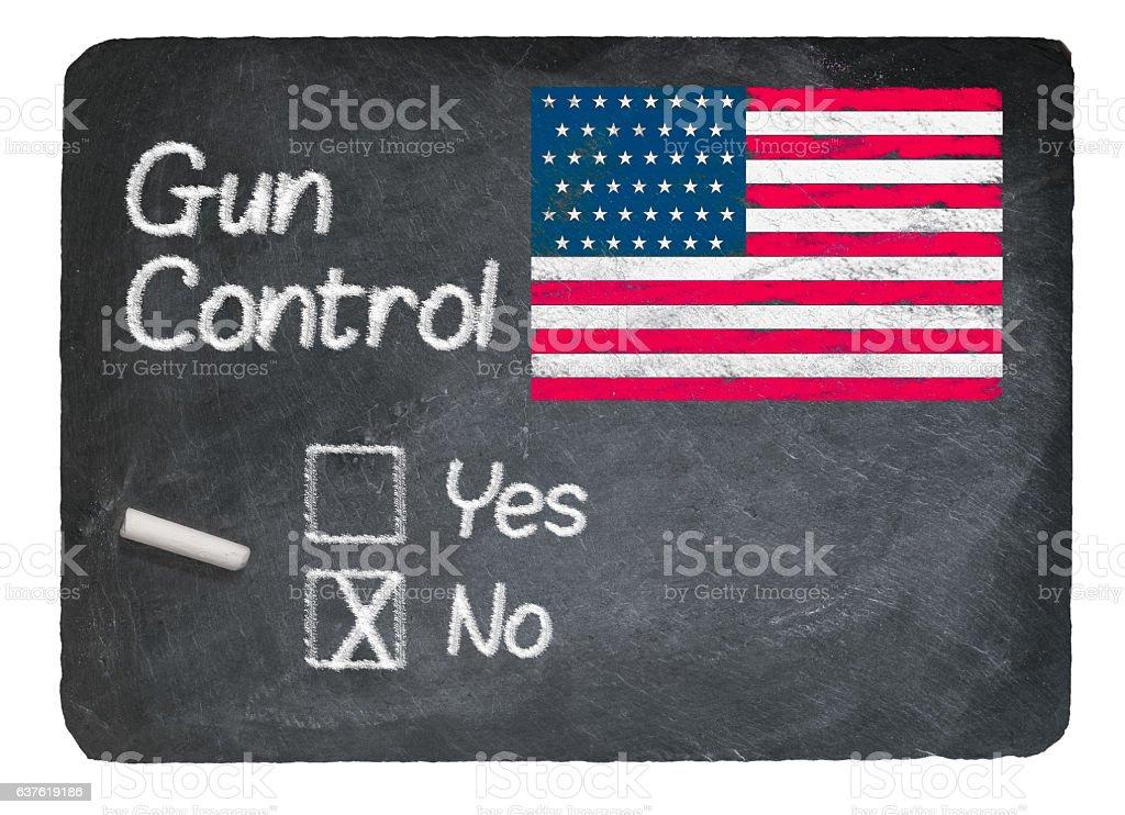 Gun Control choice using chalk on slate blackboard stock photo