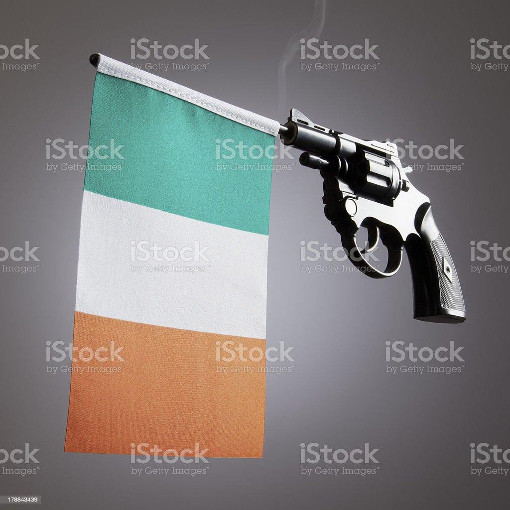 Gun crime concept of hand pistol stock photo