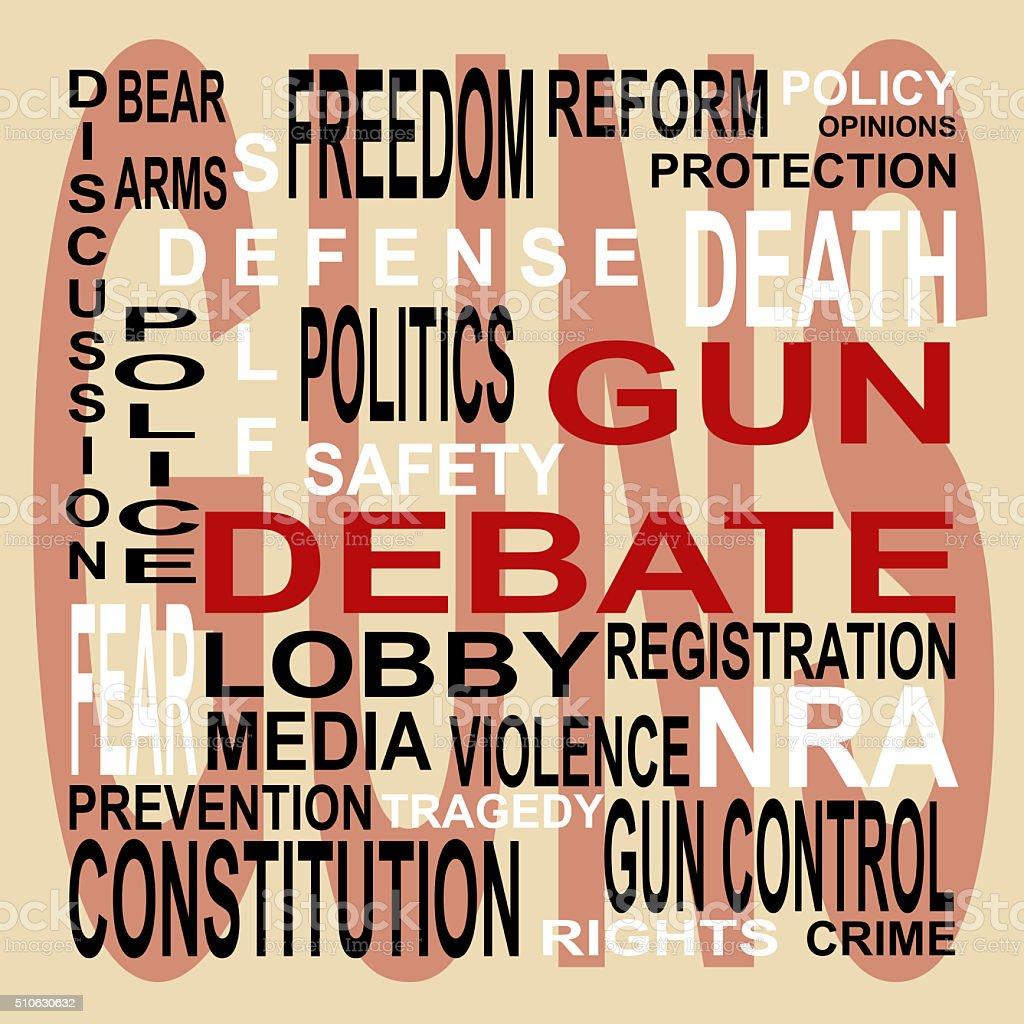 Gun Debate Word Cloud stock photo