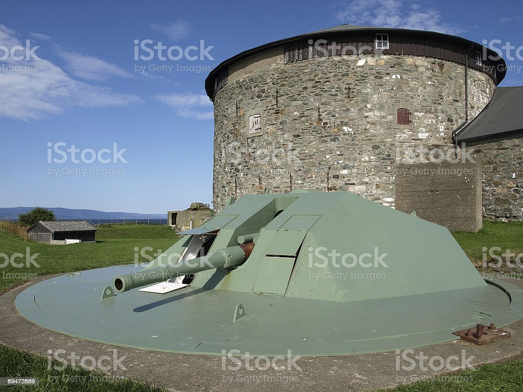 Gun Emplacement, Munkholmen Island, Trondheim stock photo