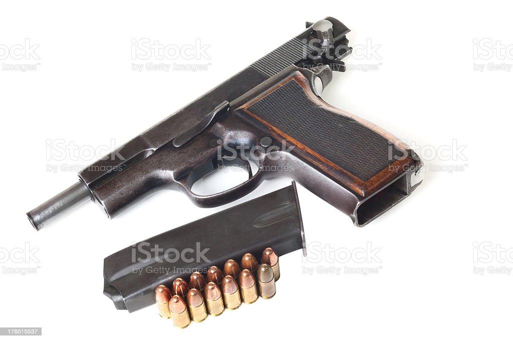 Gun, holder and bullets stock photo