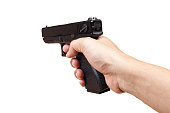 gun in hand and pointing, isolated on white background