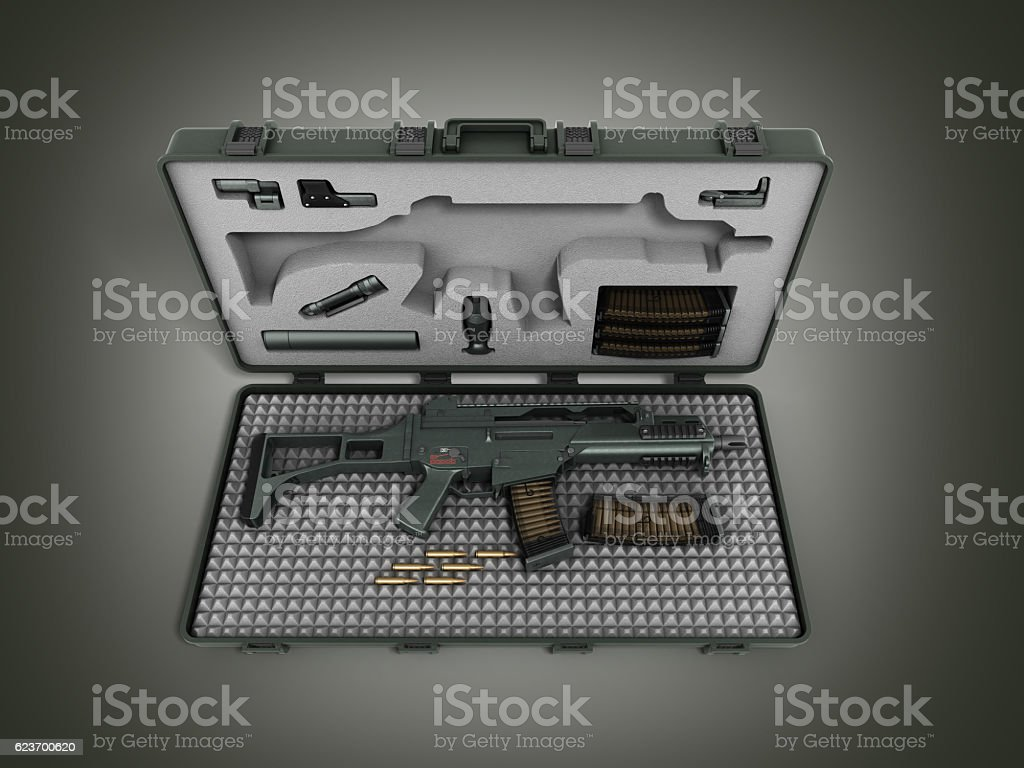 gun in the briefcase 3d render on a gradient background stock photo