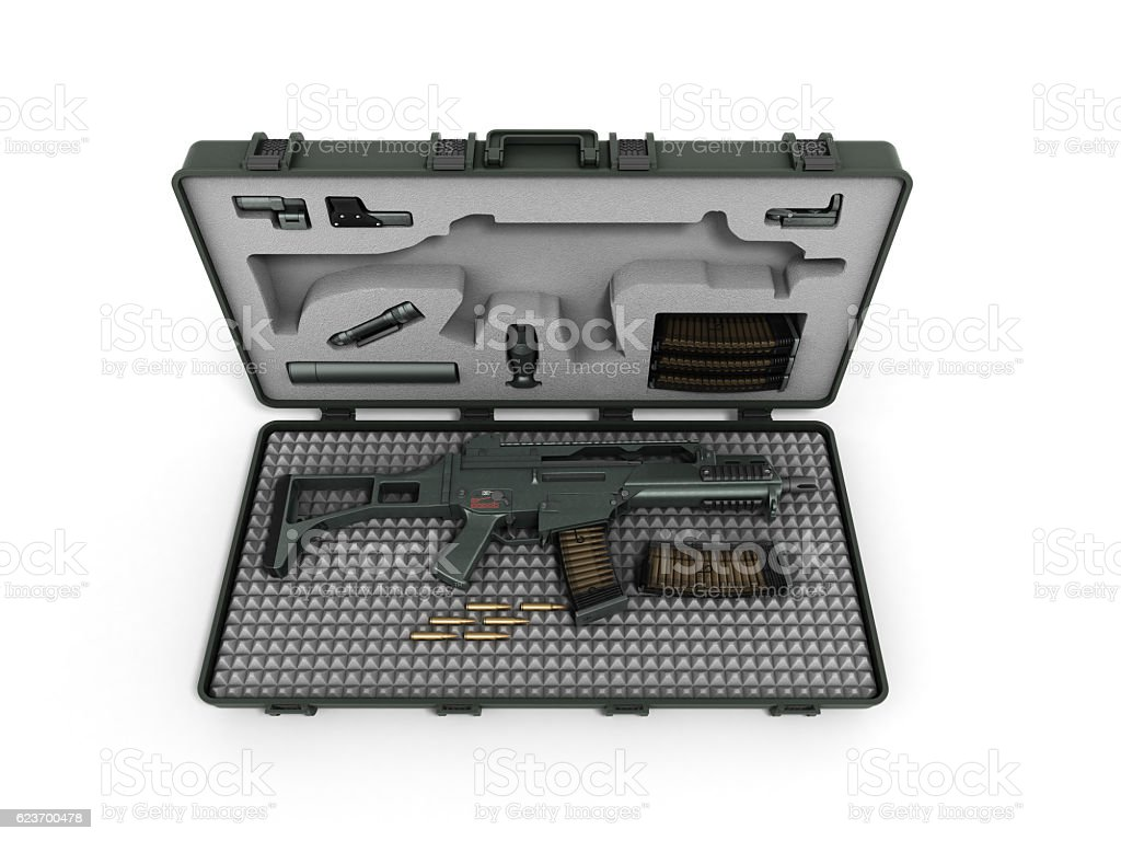 gun in the briefcase 3d render on a white background stock photo