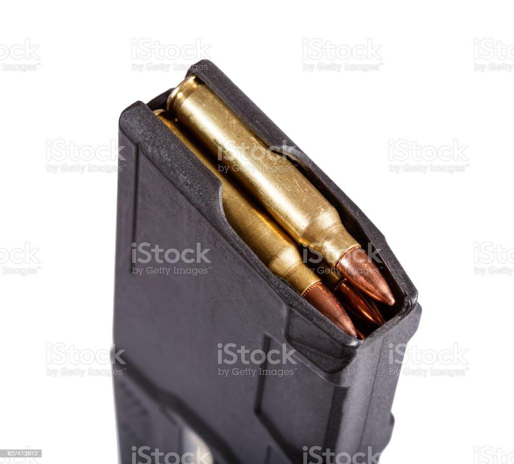 Gun magazin with ammo stock photo
