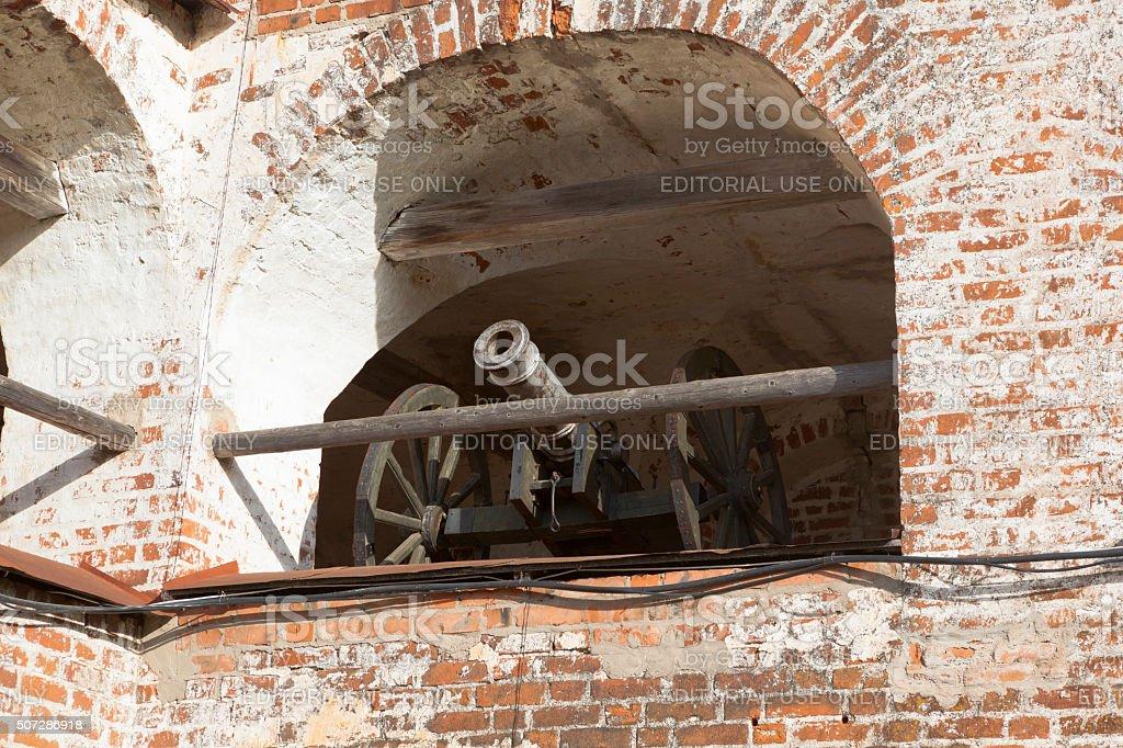 Gun on the defensive gallery fortress wall Kirillo-Belozersky Monastery stock photo