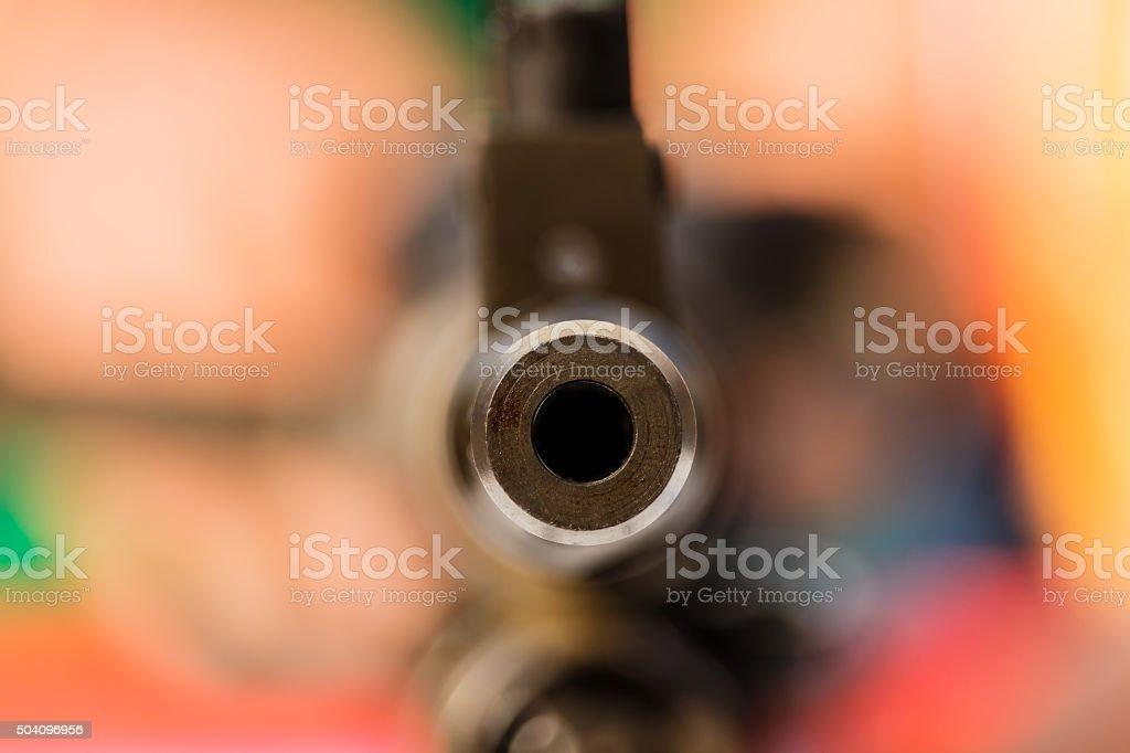 Gun point the submachine gun stock photo