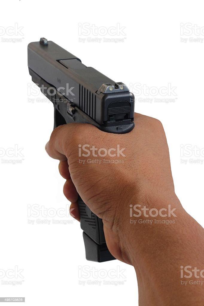 gun pointing on white background stock photo
