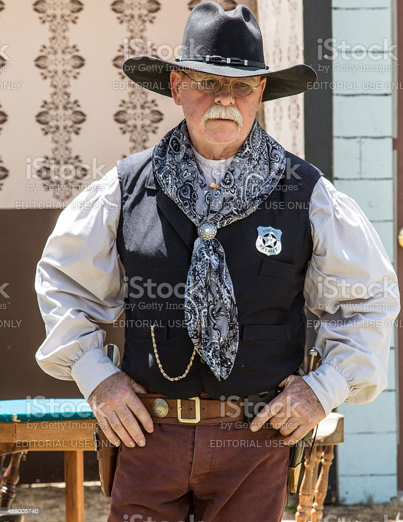 Gun Safety Talk With the Old Sheriff stock photo