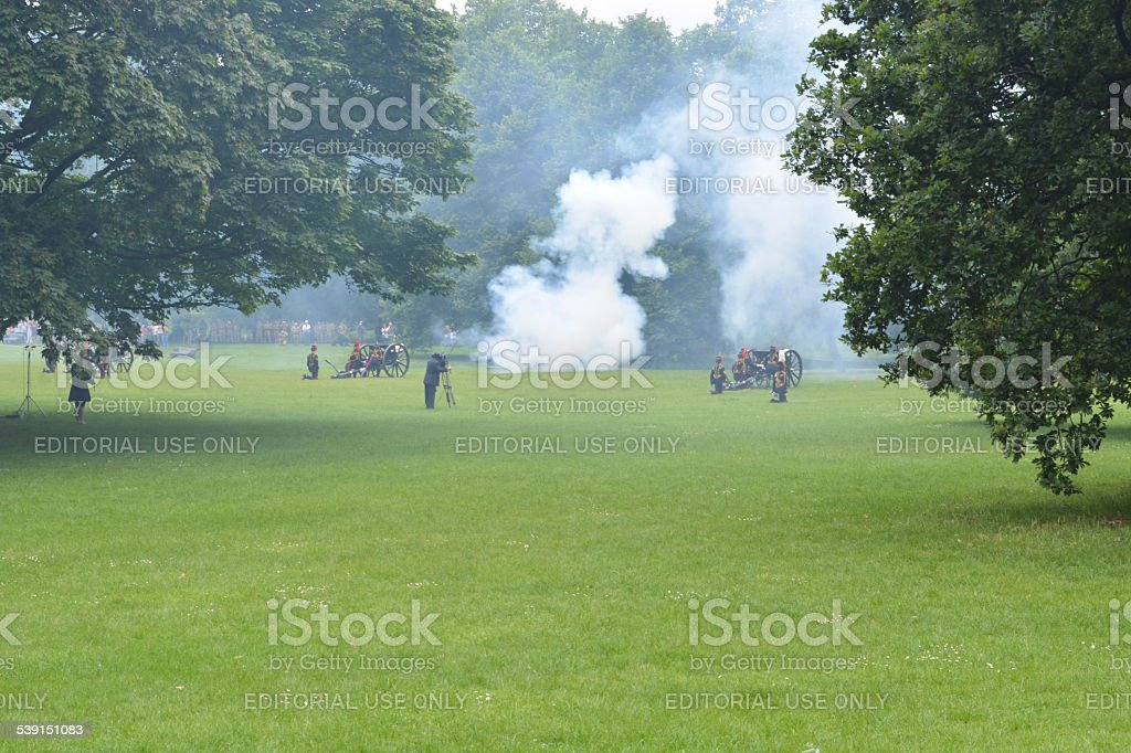 Gun Salute For The Queen's Birthday stock photo